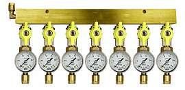 Manifold 7 pipes, shut-off valves, gauge till 25bar, CF8/6