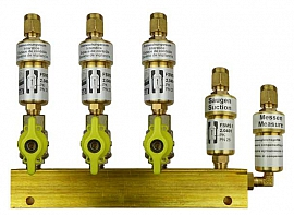 Manifold 3 pipes, shut-off valves, CF8/6