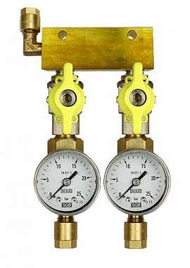 Manifold 2 pipes, shut-off valves, gauge till 25bar, CF8/6
