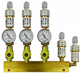 Manifold 3 pipes, shut-off valves, gauge -1 to 0bar, FU6/4
