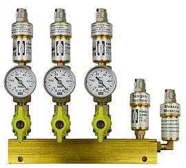 Manifold 3 pipes, shut-off valves, gauge -1 to 0bar, QU8/6