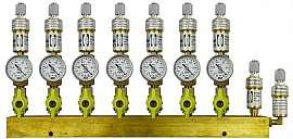 Manifold 7 pipes, shut-off valves, gauge -1 to 0bar, FU6/4