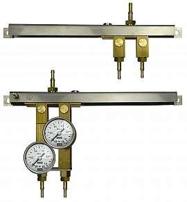 Manifold for 2 tanks, gauge 1bar / exit H4+H6