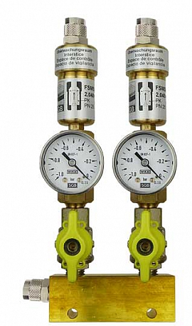 Manifold ext. 2 pipes, shut-off valves, gauge -1 to 0bar, QU8/6