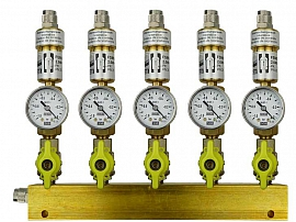 Manifold ext. 5 pipes, shut-off valves, gauge -1 to 0bar, QU8/6