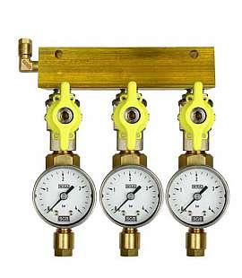 Manifold 3 pipes, shut-off valves, gauge till 4bar, CF6/4