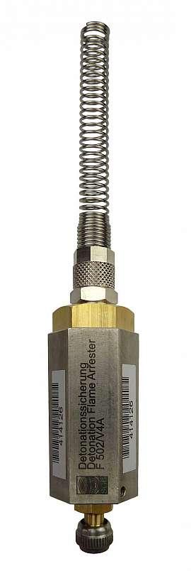 Deto.flame arrester F502 UPP, brass, Schrader valve - QU8/6
