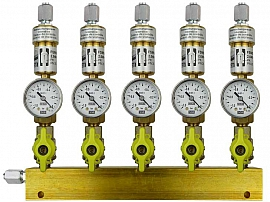 Manifold ext. 5 pipes, shut-off valves, gauge -1 to 0bar, FU6/4