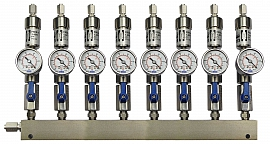 SS-manifold ext. 8 pipes, shut-off valves, gauge -1 to 0bar, ss-FU6/4