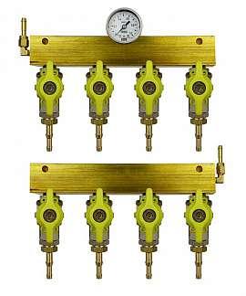 Manifold 4 tanks, pair pre./meas., gauge 1bar, H4+H6