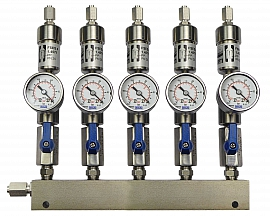 SS-manifold ext. 5 pipes, shut-off valves, gauge -1 to 0bar, ss-FU6/4
