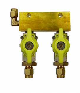 Manifold 2 pipes, shut-off valves, CF6/4