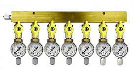 Manifold 7 pipes, shut-off valves, gauge till 16bar, FU6/4