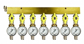 Manifold 7 pipes, shut-off valves, gauge till 4bar, QU8/6