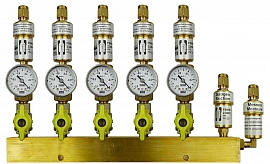 Manifold 5 pipes, shut-off valves, gauge -1 to 0bar, CF8/6