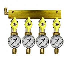 Manifold 4 pipes, shut-off valves, gauge till 16bar, CF6/4