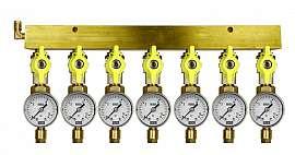 Manifold 7 pipes, shut-off valves, gauge till 16bar, CF6/4