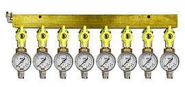 Manifold 8 pipes, shut-off valves, gauge till 16bar, QU8/6