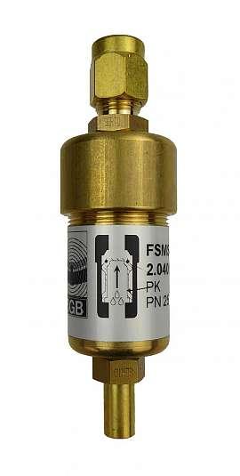 Liquid stop valve FSMS 3 / E10, CF8/6, connecting piece, PN25, brass, PK