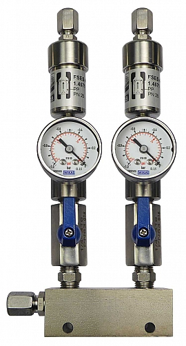 SS-manifold ext. 2 pipes, shut-off valves, gauge -1 to 0bar, ss-CF8/6