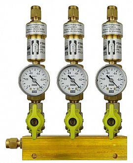 Manifold ext. 3 pipes, shut-off valves, gauge -1 to 0bar, CF8/6