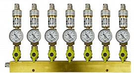 Manifold ext. 7 pipes, shut-off valves, gauge -1 to 0bar, QU8/6