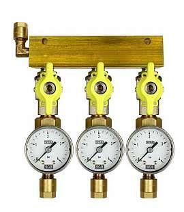 Manifold 3 pipes, shut-off valves, gauge till 4bar, CF8/6