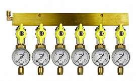 Manifold 6 pipes, shut-off valves, gauge till 16bar, CF6/4