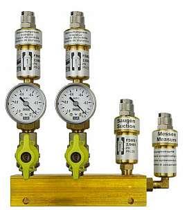 Manifold 2 pipes, shut-off valves, gauge -1 to 0bar, QU8/6