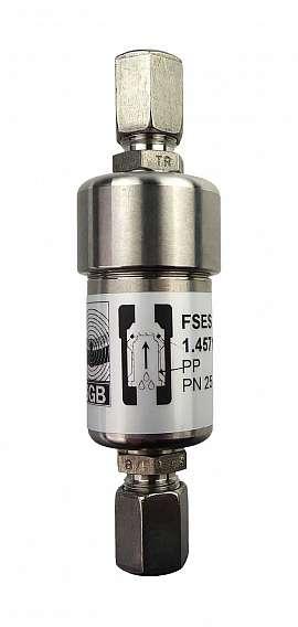 Liquid stop valve FSES 5, R1/8'f, PN25, ss, PP, FPM sealing