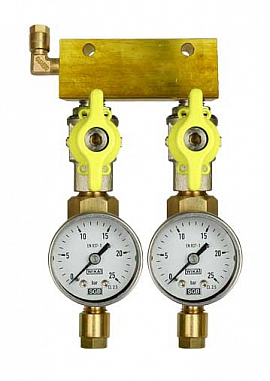 Manifold 2 pipes, shut-off valves, gauge till 25bar, CF6/4