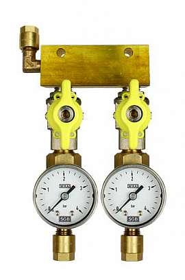 Manifold 2 pipes, shut-off valves, gauge till 4bar, CF8/6