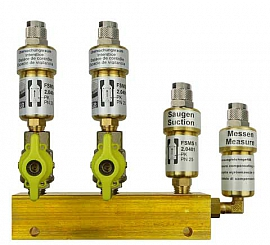 Manifold 2 pipes, shut-off valves, QU8/6