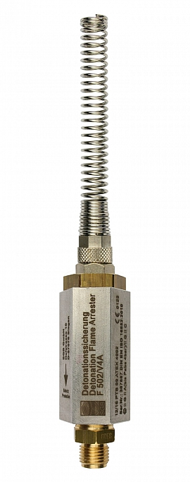 Deton. Flame Arrester F502, 1/4'-QU8/6 Brass, 1/4' Male, 8/6 mm Quick Union