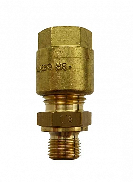 Straight Union KV8 - G1/8' G1/8'male with Flange, Brass