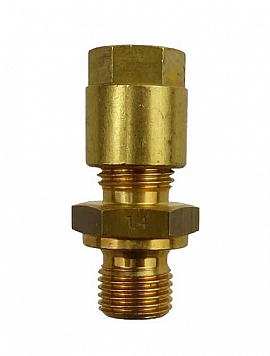 Straight Union KV8 - G1/4' G1/4'male with flange, Brass