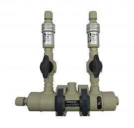 Manifold ext. 2 pipes, shut-off valves, PP8/6