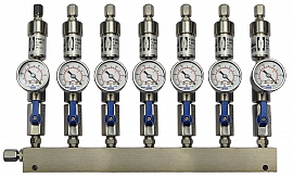 SS-manifold ext. 7 pipes, shut-off valves, gauge -1 to 0bar, ss-CF8/6