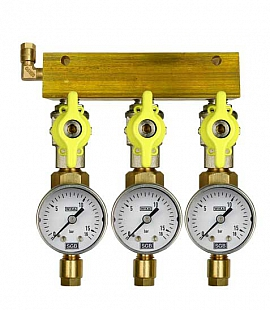 Manifold 3 pipes, shut-off valves, gauge till 16bar, CF6/4