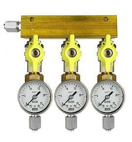 Manifold 3 pipes, shut-off valves, gauge till 25bar, FU6/4