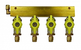 Manifold 4 pipes, shut-off valves, CF6/4