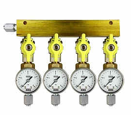 Manifold 4 pipes, shut-off valves, gauge till 4bar, FU6/4