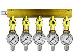 Manifold 5 pipes, shut-off valves, gauge till 16bar, FU6/4