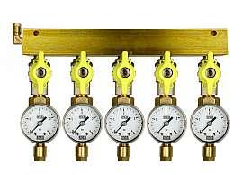 Manifold 5 pipes, shut-off valves, gauge till 4bar, CF6/4