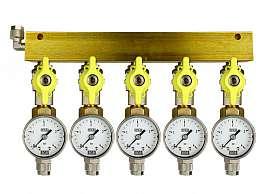 Manifold 5 pipes, shut-off valves, gauge till 4bar, QU8/6