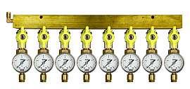 Manifold 8 pipes, shut-off valves, gauge till 4bar, CF6/4